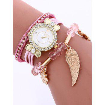 Rhinestone Layered Beaded Wing Bracelet Watch