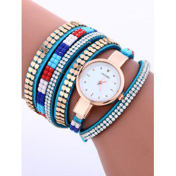 Rhinestone Rivet Layered Studded Bracelet Watch