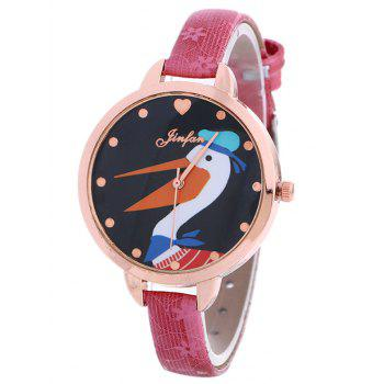 Faux Leather Swan Floral Quartz Watch
