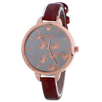 Faux Leather Butterfly Pattern Quartz Watch
