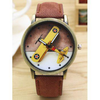 Cartoon Airplane Faux Leather Quartz Watch