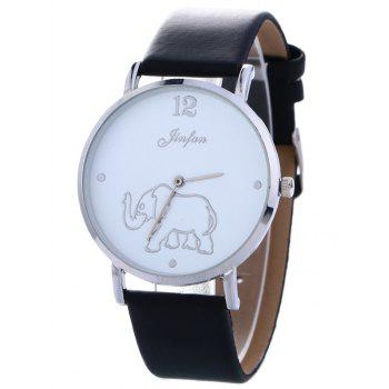 Faux Leather Elephant Pattern Quartz Watch