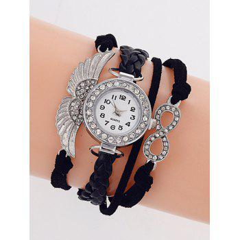Rhinestone Wings Braided Quartz Bracelet Watch