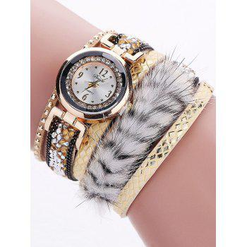 Layered Studded Faux Fur Quartz Bracelet Watch
