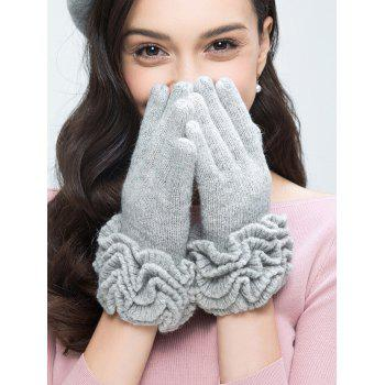 Wool Gloves with Flouncing