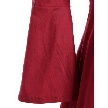 Bell Sleeve Front Tie Full Dress - RED S