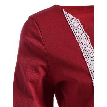 Bell Sleeve Front Tie Full Dress - RED RED