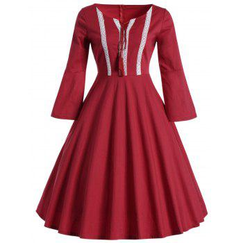 Bell Sleeve Front Tie Full Dress