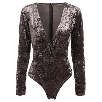 Plunging Neck Velvet Long Sleeve High Cut  Bodysuit