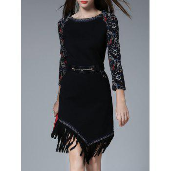 Fringe Knee Length Print Dress