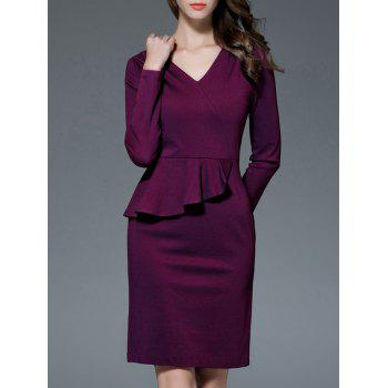 V Neck Long Sleeve Peplum Dress