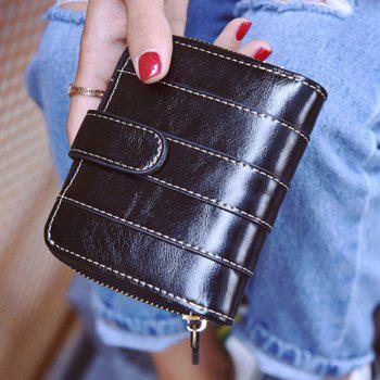 Buy Bi Fold Stitching Faux Leather Small Wallet BLACK