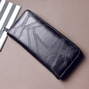 Faux Leather Stitching Zip Around Wallet -  BLACK