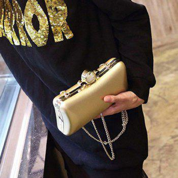 Chains Beaded PU Leather Evening Bag -  GOLDEN