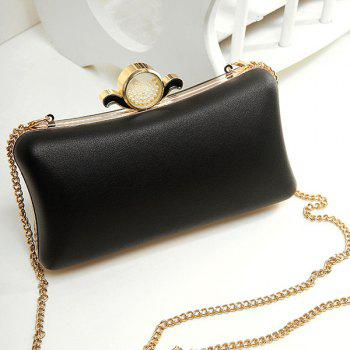 Chains Beaded PU Leather Evening Bag - BLACK BLACK