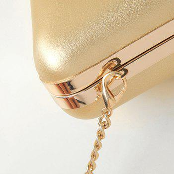 Chains Beaded PU Leather Evening Bag -  BLACK