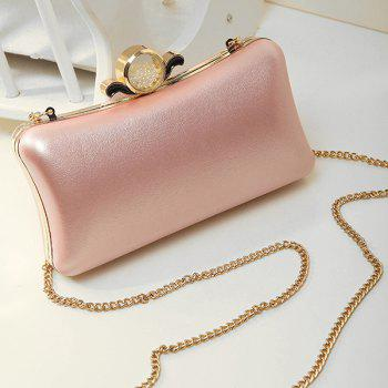 Chains Beaded PU Leather Evening Bag - PINK PINK