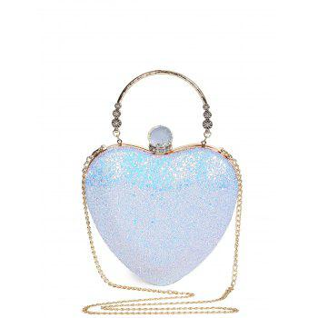 Rhinestones Heart Shape Evening Bag - BLUE BLUE