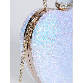 Rhinestones Heart Shape Evening Bag -  BLUE