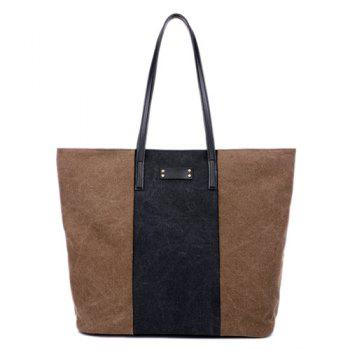 Casual Color Panel Canvas Shoulder Bag