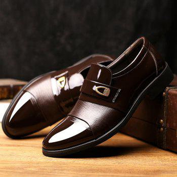 Patent Leather Metal Embellished Formal Shoes - DEEP BROWN 43