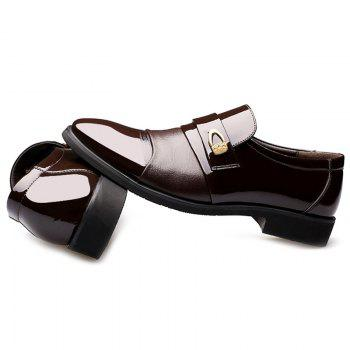 Patent Leather Metal Embellished Formal Shoes - DEEP BROWN 42