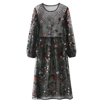 Mesh Floral Embroidered Long Sleeve Dress