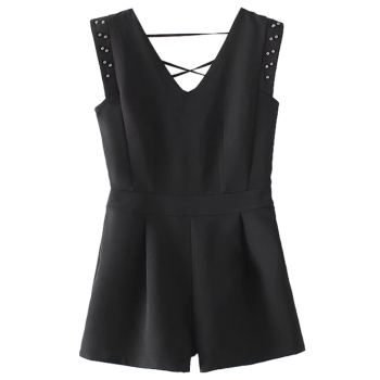 Sleeveless Studded Romper - BLACK M