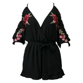Floral Embroidered Surplice Romper - BLACK L