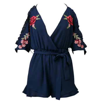 Floral Embroidered Surplice Romper - CADETBLUE L