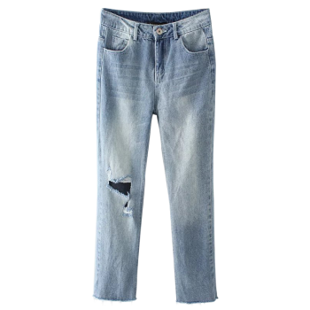 Light Wash Destroyed Jeans - LIGHT BLUE LIGHT BLUE