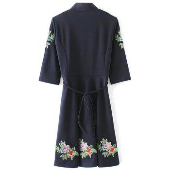 Belted Embroidered Surplice Dress - M M