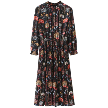 Ruffled Collar Printed Tea Length Dress