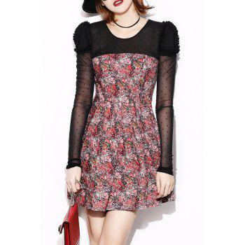 Tulle Panel Printed Sheer Mini Dress