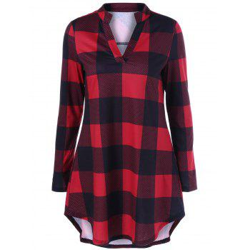 Split Neck Long Plaid Boyfriend T-Shirt