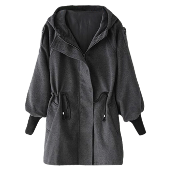 Hooded Drawstring Wool Coat