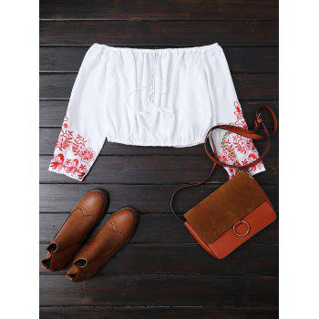 Off The Shoulder Embroidered Cropped Blouse