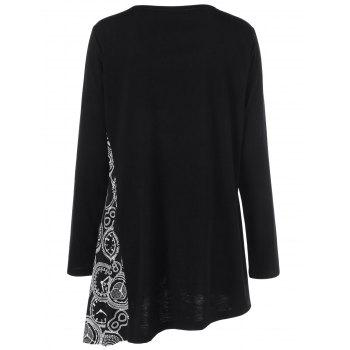 Plus Size Printed Asymmetric Tunic T-Shirt - BLACK 2XL