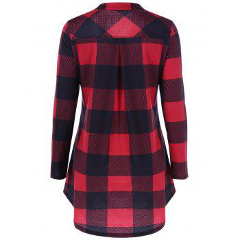 Split Neck Long Plaid Boyfriend T-Shirt - RED/BLACK M