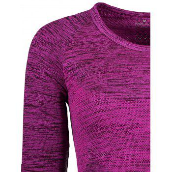Space Dye Long Sleeve Running Top - PURPLISH RED M
