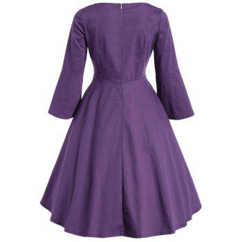 Bell Sleeve Front Tie Full Dress - PURPLE M