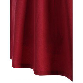 Bell Sleeve Front Tie Full Dress - RED M