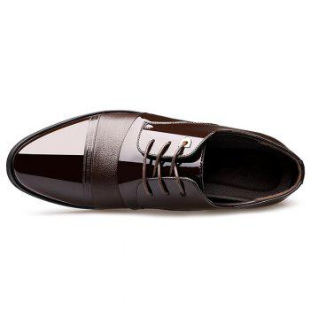 Patent Leather Tie Up Formal Shoes - DEEP BROWN 44
