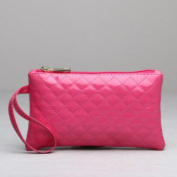 Patent Leather Rhombic Stitching Wristlet - ROSE RED