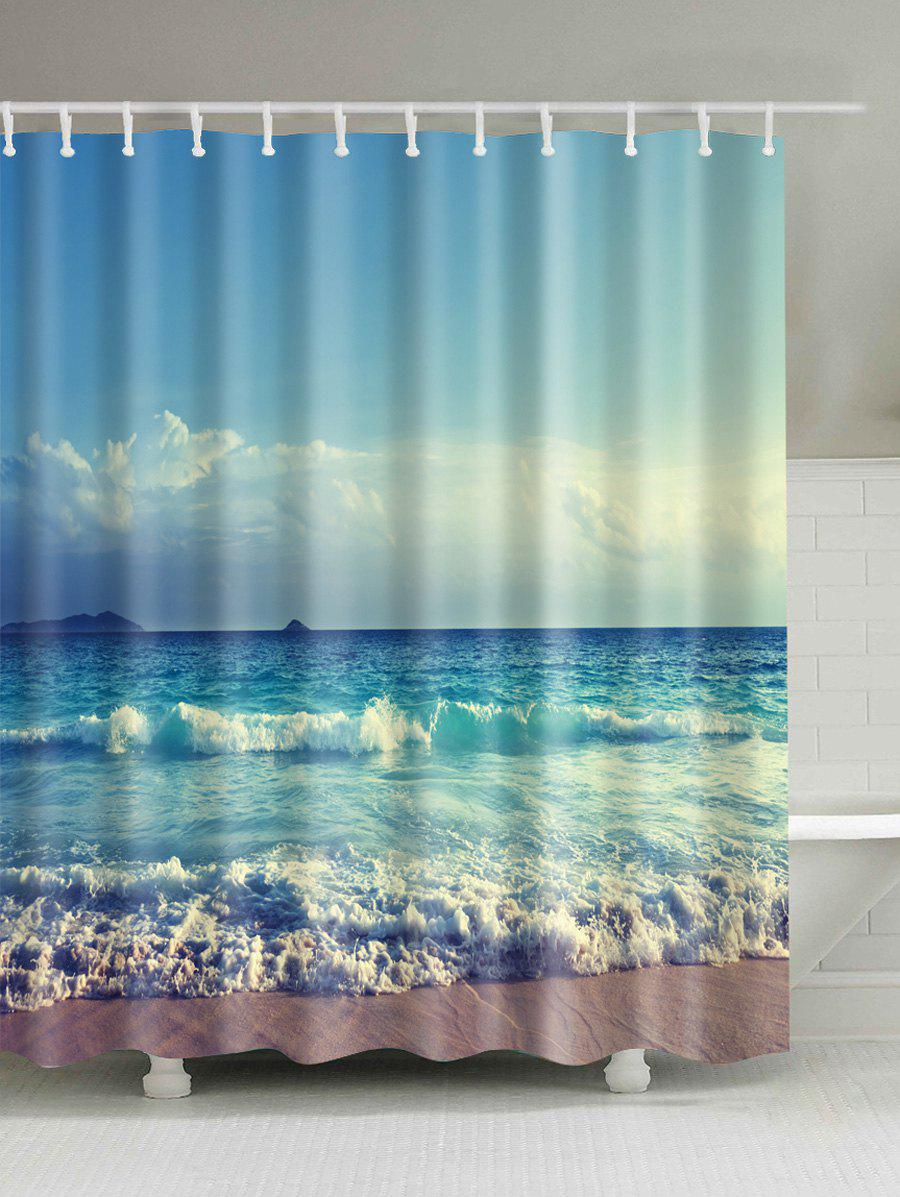 2018 ocean print waterproof bath shower curtain colormix for Portable window curtain