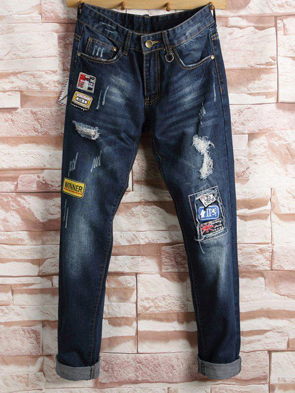 Straight Leg Patch Ripped Jeans 2017 fashion mens patch jeans slim straight denim biker jeans trousers new brand superably jeans ripped dark jeans men u329