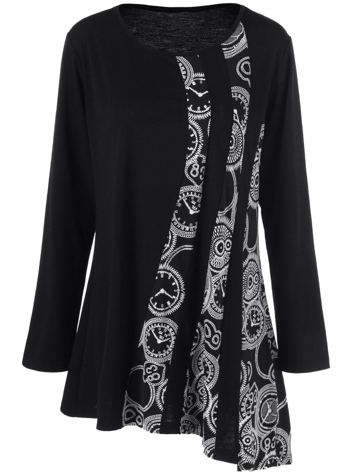 Plus Size Printed Asymmetric Tunic T-Shirt