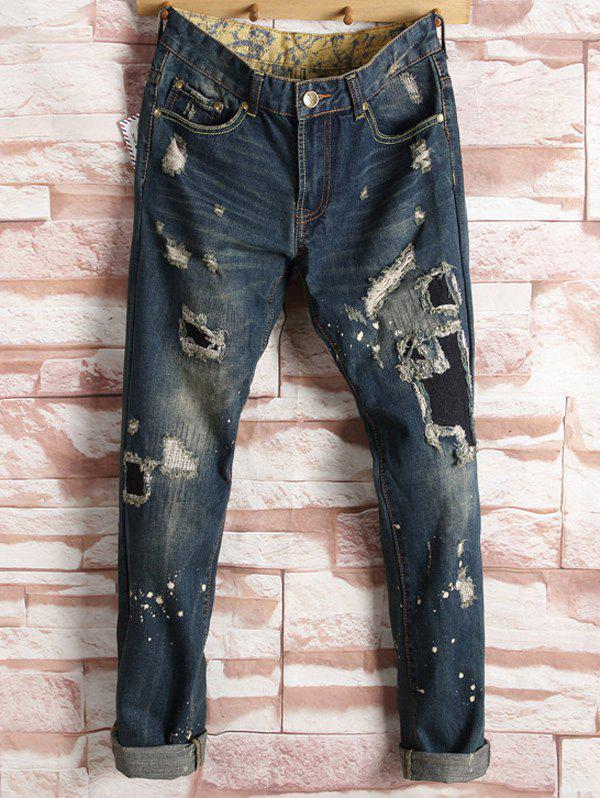 Ripped Patched Straight Leg Jeans 2017 new brand men jeans style mens washed denim pants ripped jeans large size male casual straight slim wholesale jeans 2081
