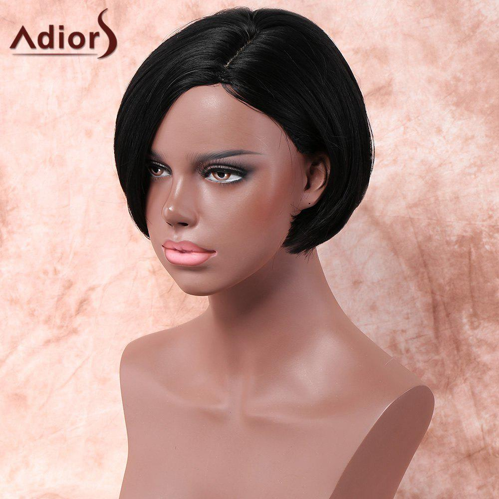 Adiors Short Side Parting Bob Silky Straight Synthetic Wig - BLACK