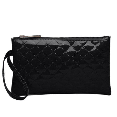Patent Leather Rhombic Stitching Wristlet - BLACK